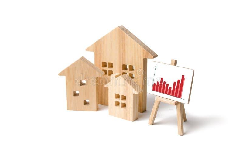 Maisons en bois avec un support des graphiques et de l'information Demande croissante en logement et immobiliers Croissance de la image stock