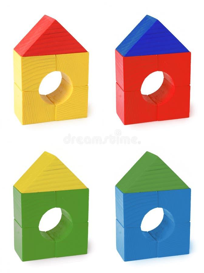 Maisons en bois de jouet de couleur multi photo libre de droits