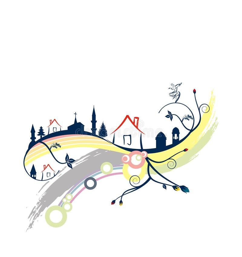 Maisons et cultures illustration de vecteur