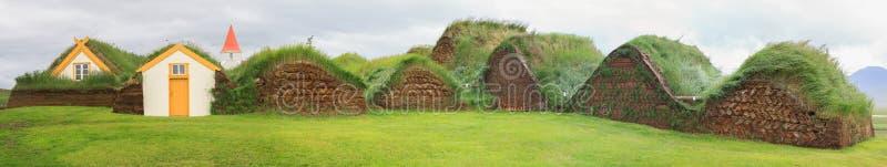Maisons islandaises de gazon images libres de droits