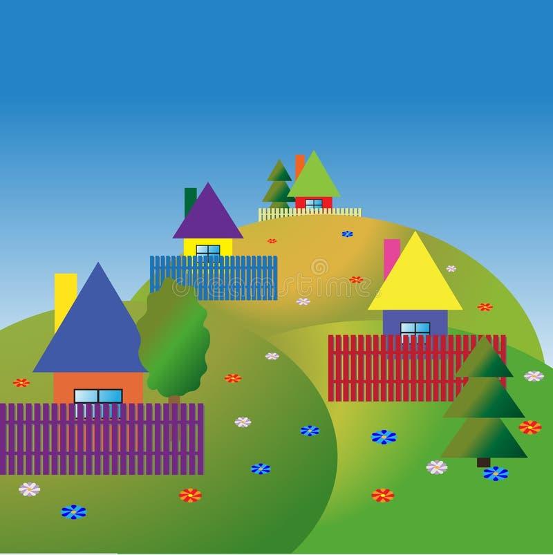 Maisons olourful de ¡ de Ð sur les collines image stock