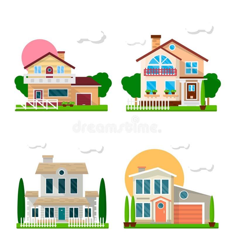 Maisons résidentielles avec l'ensemble coloré de jardins sur le blanc illustration de vecteur