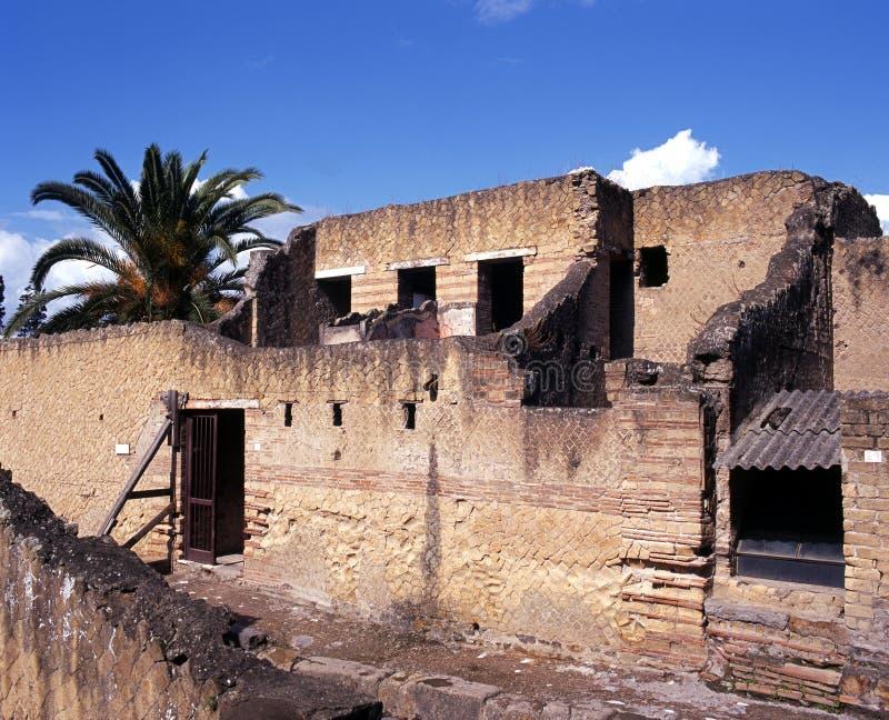Maisons romaines, Herculaneum, Italie. photographie stock