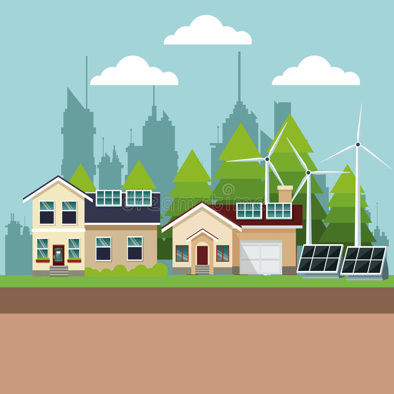 Maisons suburbaines avec de l'énergie environnementale illustration libre de droits
