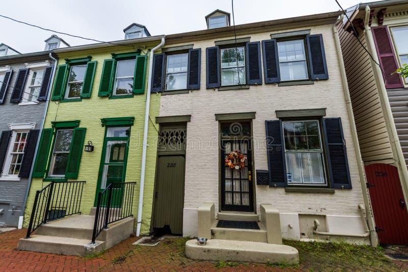 Maisons sur la troisième rue dans Federick historique du centre, le Maryland photo stock