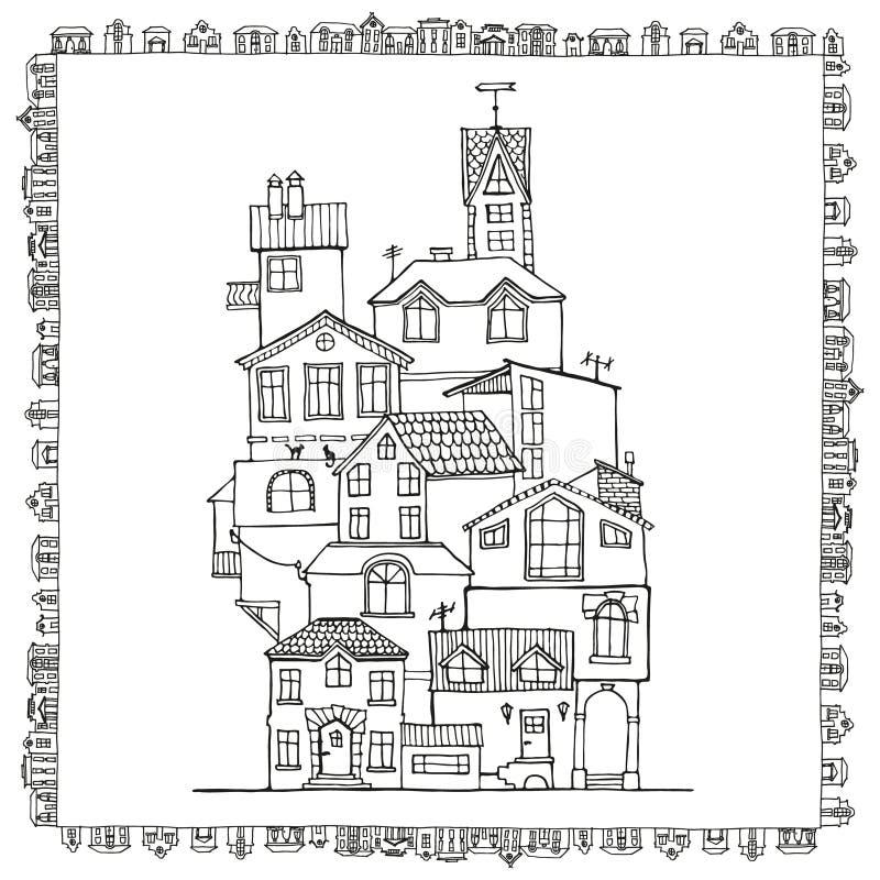 Maisons tirées par la main de griffonnage illustration de vecteur