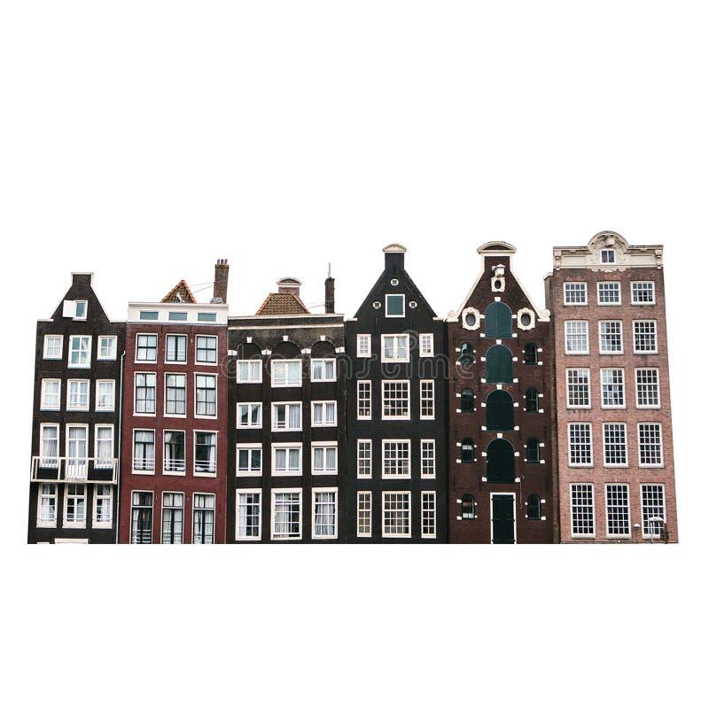 Maisons traditionnelles à Amsterdam dans une rangée d'isolement sur le fond blanc photographie stock libre de droits