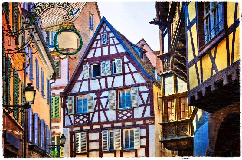 Maisons traditionnelles colorées de région d'Alsace - ville de Strasburg f photographie stock libre de droits