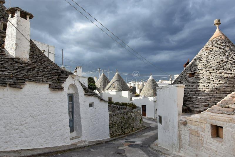 Maisons uniques de Trulli d'Alberobello photos libres de droits