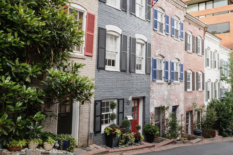 Maisons urbaines à Georgetown, Washington DC photos stock