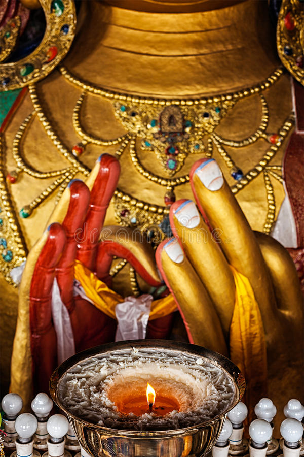 Maitreya菩萨在Thiksey Gompa 库存照片