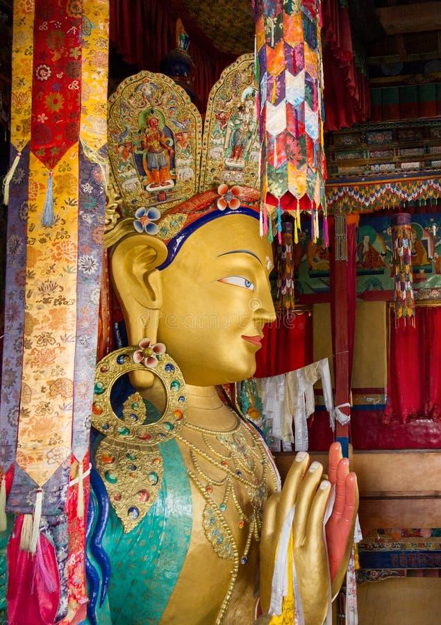 Maitreya Βούδας, ανώτερο μέρος του γιγαντιαίου αγάλματος, Thikse Monaster στοκ φωτογραφίες