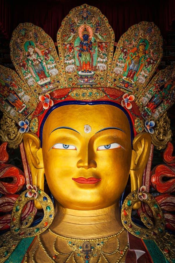 Maitreya Boedha in Thiksey Gompa, Ladakh stock afbeelding