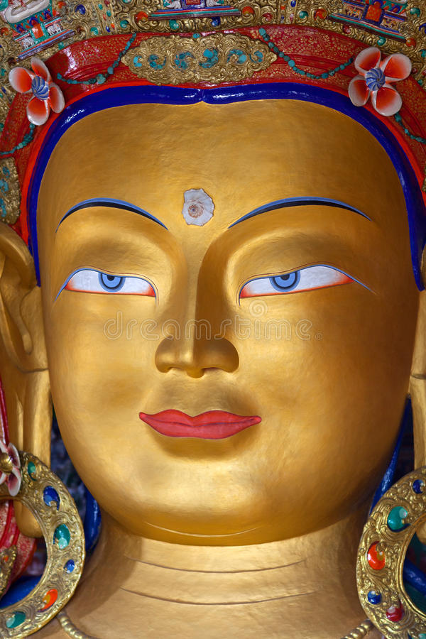 Maitreya Boedha (Toekomstige Boedha) in Thiksey Gompa in Leh, India royalty-vrije stock foto's