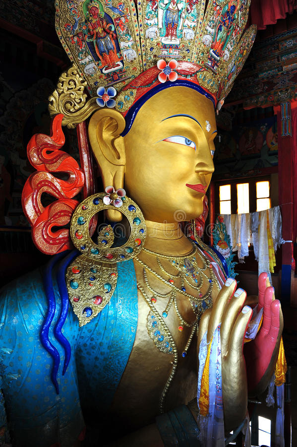 Maitreya Bouddha, Thiksey Gompa, Ladakh photographie stock libre de droits