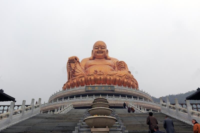 Maitreya buddha bronsstaty av xuedousitemplet arkivfoto