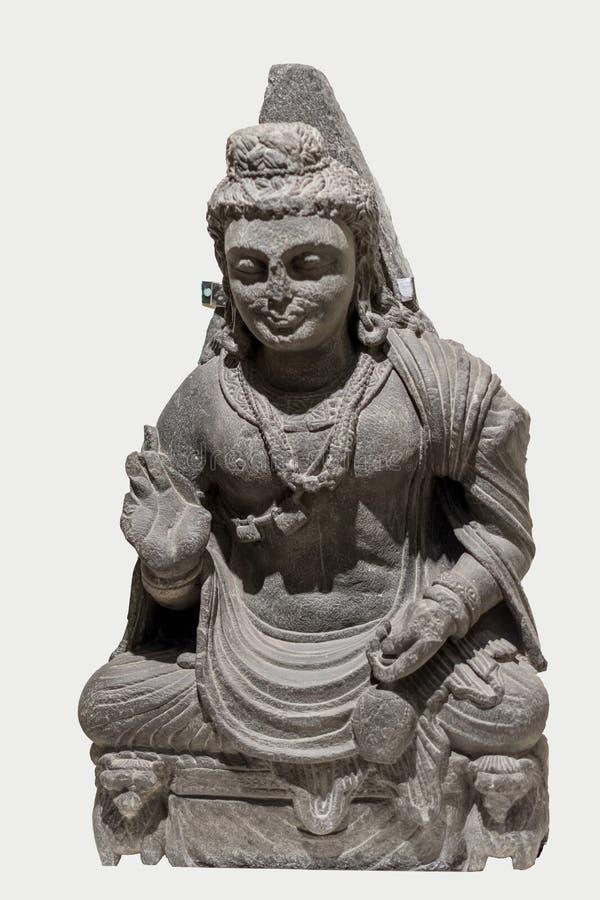 Maitreya inskrift på det 2nd århundradet för baksida royaltyfri foto