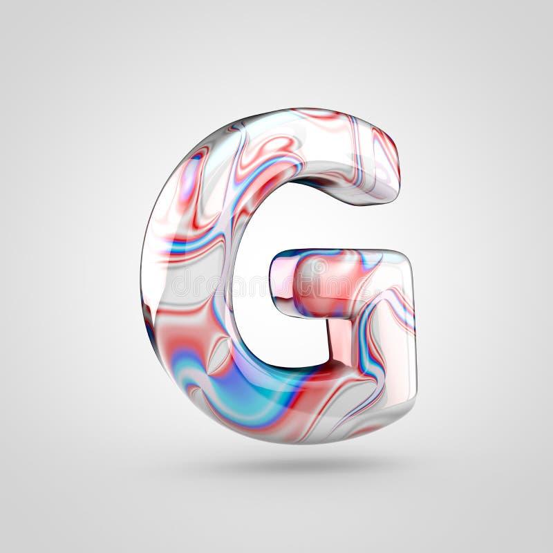 Maiuscola lucida di G della lettera di alfabeto del marmo dell'acqua isolata su fondo bianco illustrazione vettoriale