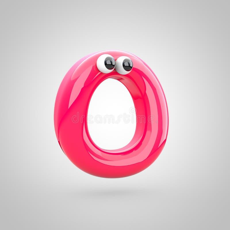 Maiuscola rosa divertente della lettera O con gli occhi royalty illustrazione gratis