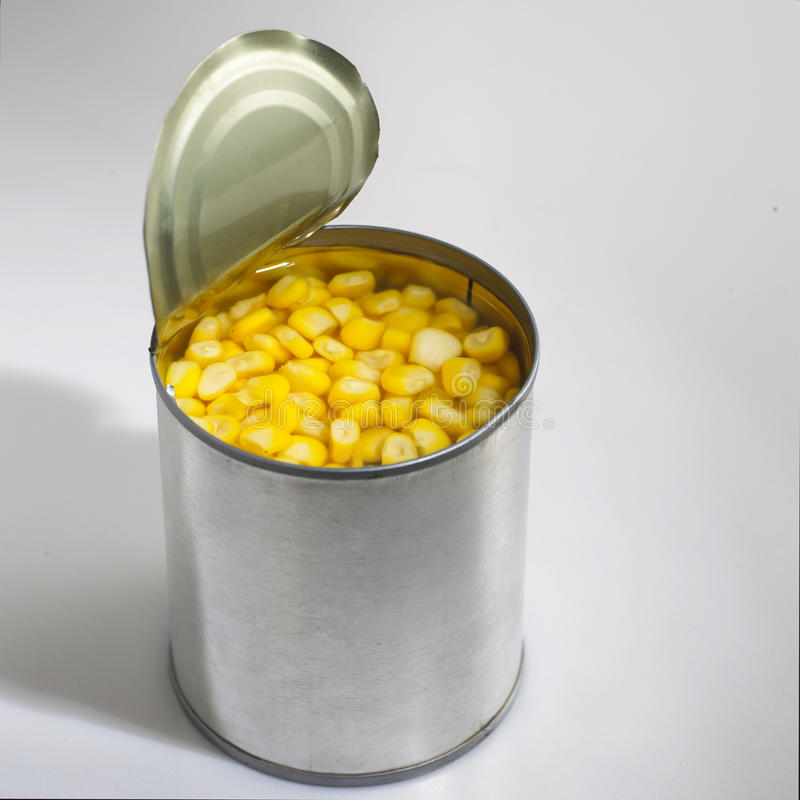 Maize. Close up of maize in can stock photo