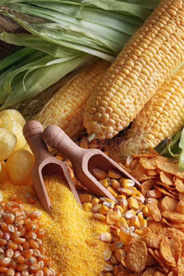 Maize products royalty free stock photos