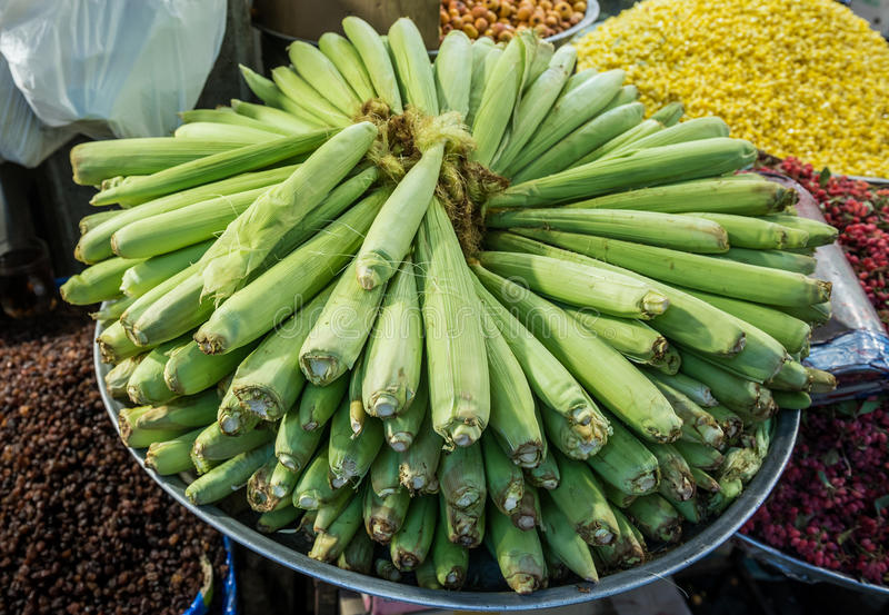 Maize for sale. Maize ears for sale at Grand Bazaar in Tehran, capital of Iran royalty free stock photo