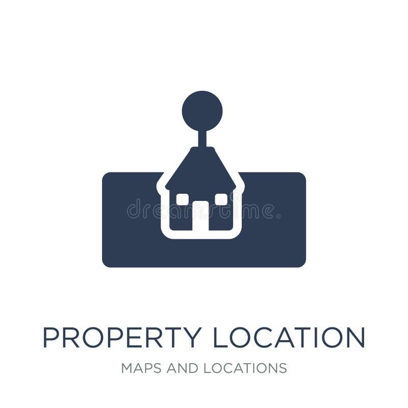 majątkowa lokacji ikona Modny płaski wektorowy majątkowy lokacji ico ilustracji