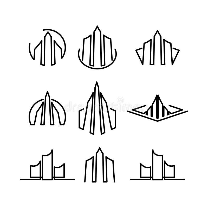 Majątkowego logo ikony kreskowej sztuki projekta abstrakcjonistycznego minimalisty ustalone kolekcje ilustracji