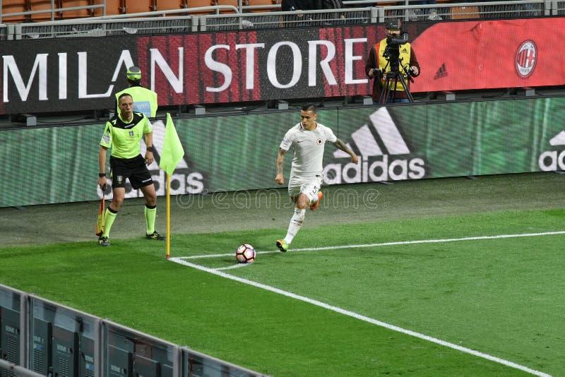 MAJ 7, 2017: italiensk fotbollsmatch AC Milan för serie A vs SOM Roma 1 - 4 arkivbilder