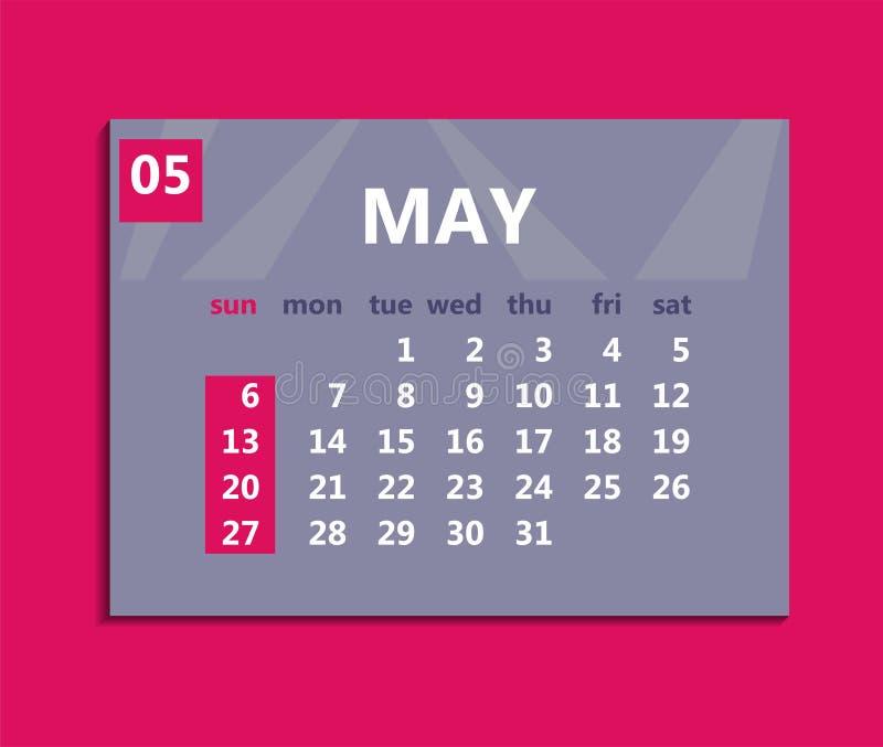 Maj kalender 2018 Veckastarter på söndag Affärsvektorillust vektor illustrationer