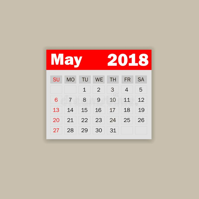 Maj kalender 2018 Veckastarter på söndag Mall för affärsvektorillustration för en månad 2018 år royaltyfri illustrationer
