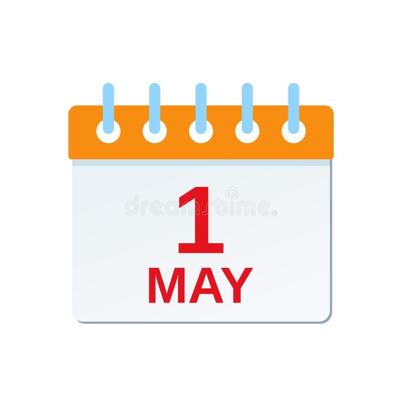 1 Maj kalendersymbol tillgänglig vektor för dagmapparbete också vektor för coreldrawillustration stock illustrationer