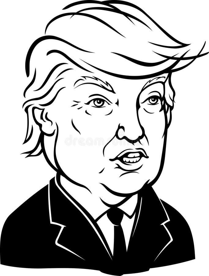 Maj 24, 2017: Karykatura 45th prezydenta Donald John atut odizolowywający na białym tle ilustracji