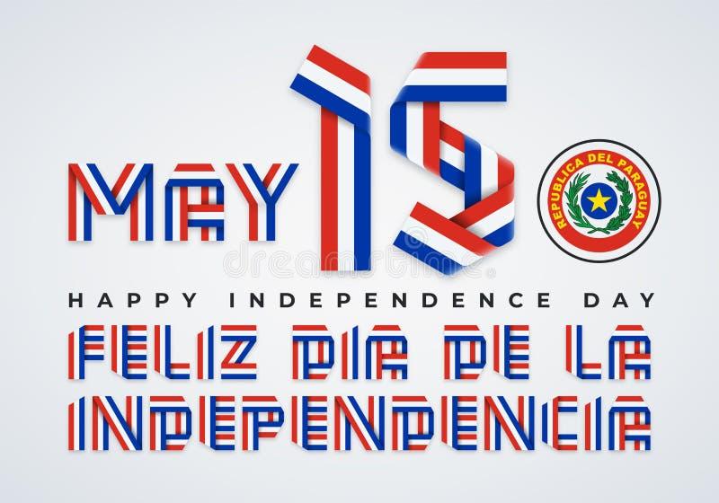 15 Maj, lyckönsknings- design för Paraguay självständighetsdagen med paraguayanska flaggafärger ocks? vektor f?r coreldrawillustr royaltyfri illustrationer