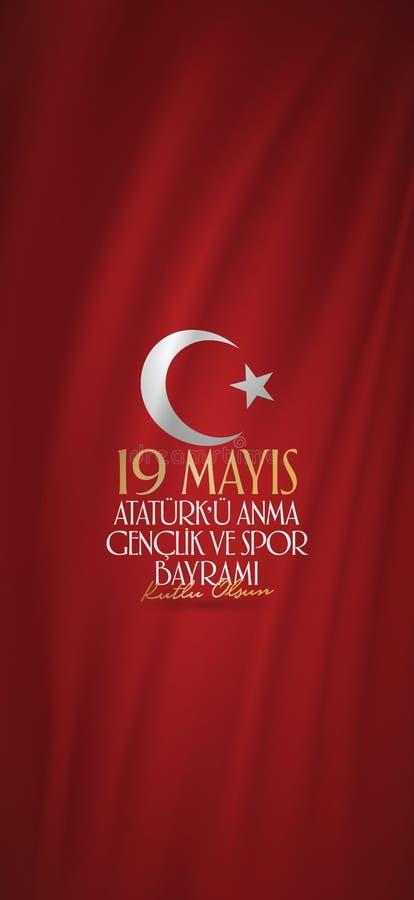Maj 19 ?minnelse av den Ataturk, ungdom- och sportdagen Affischtavla affisch, socialt massmedia, mall f?r h?lsningkort Turkiskt:  stock illustrationer