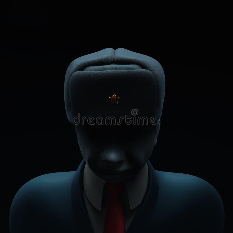 Maj 6, 2017: Ryssland klandrade i massiv dataintrångattack framåt av det franska presidentvalet Rysk spion med gjord mörkare illu royaltyfri illustrationer