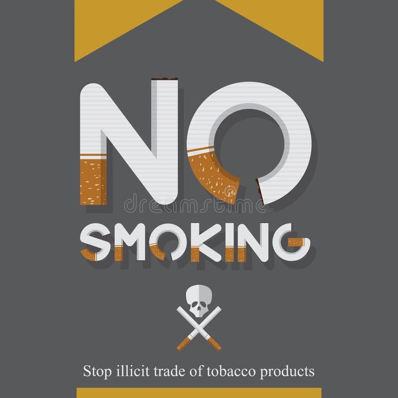 Maj 31st värld ingen tobakdagaffisch Inget - röka underteckna in cigarettbrev symboler royaltyfri illustrationer