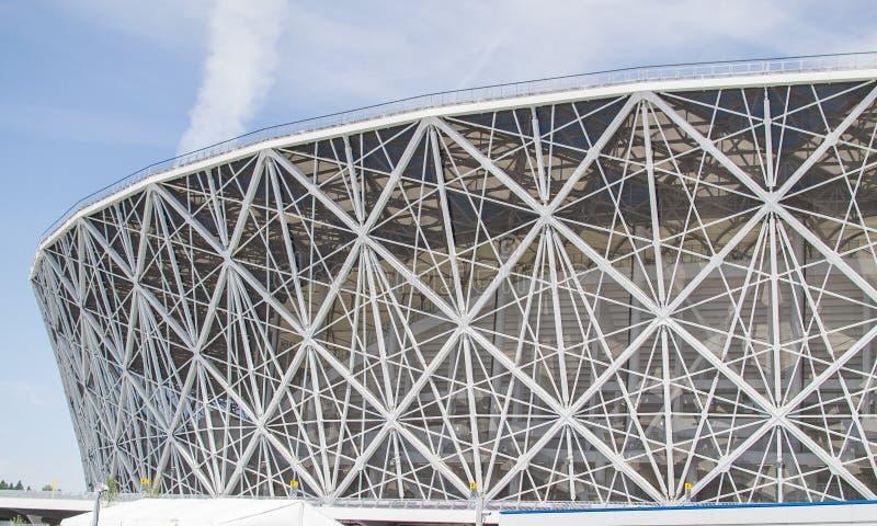 Maj 23, 2018 Volgograd, Ryssland Ny fotbollsarenaVolgograd arena royaltyfri bild