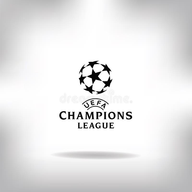 Maj 28, 2018: Wektorowa ilustracja meczu futbolowego logo UEFA champions league ilustracja wektor