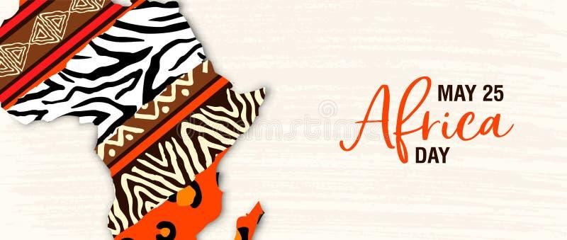 Maja 25 Afryka dnia sztandar zwierzęca druk mapa ilustracja wektor