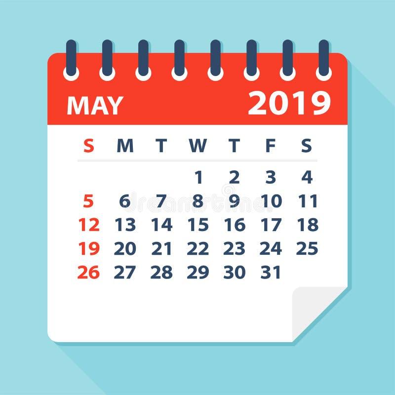Maja 2019 Kalendarzowy liść - Wektorowa ilustracja ilustracja wektor
