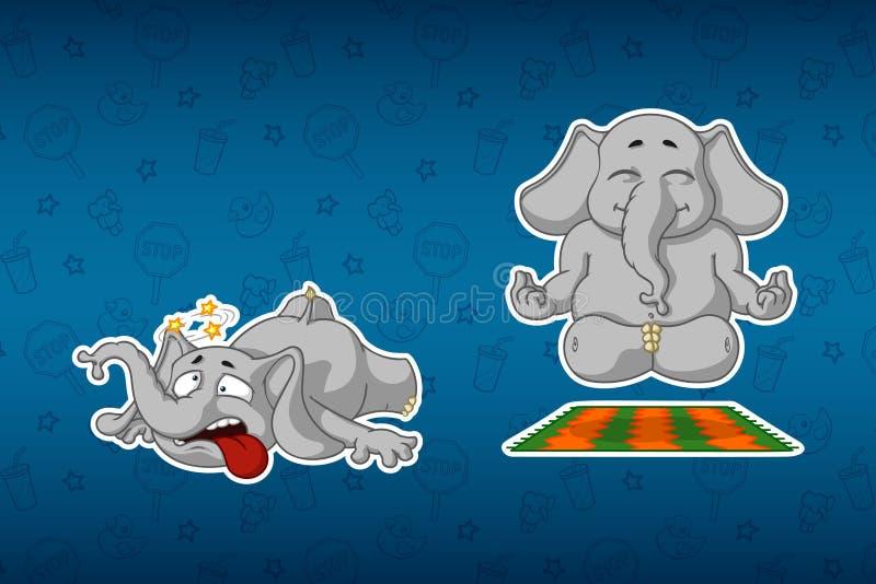 Majcherów słonie Robi joga Ono potykał się i spadał Duży set majchery Wektor, kreskówka royalty ilustracja