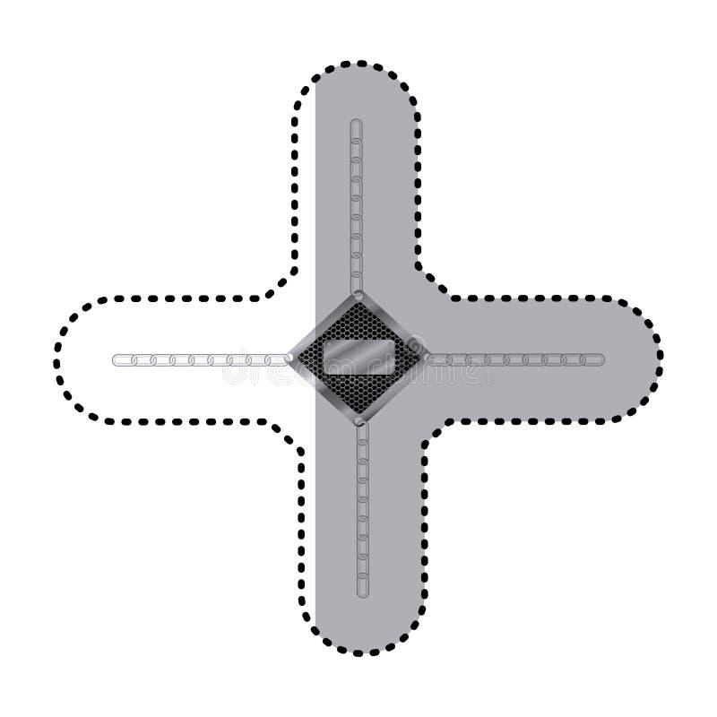 majcher diamentowa kruszcowa rama z grillem dziurkującym i metali łańcuchami ilustracja wektor