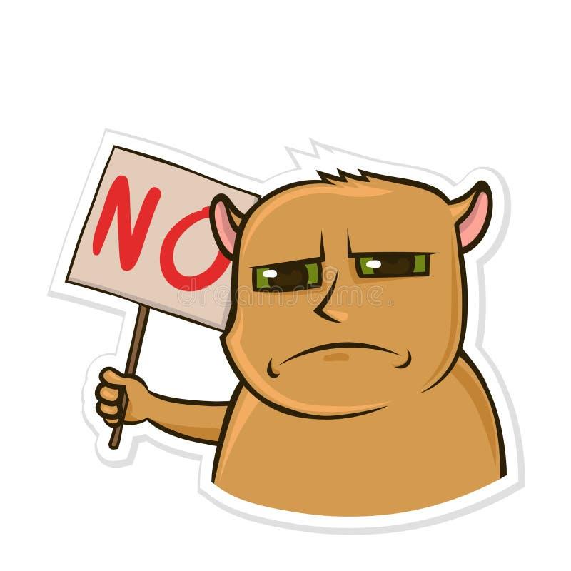 Majcher dla gona z śmiesznym zwierzęciem Zawodzący chomik trzyma znaka żadny z słowem Odosobniony wektor royalty ilustracja