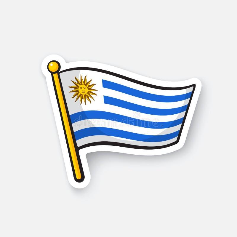 Majcher flaga Urugwaj na flagstendze ilustracja wektor