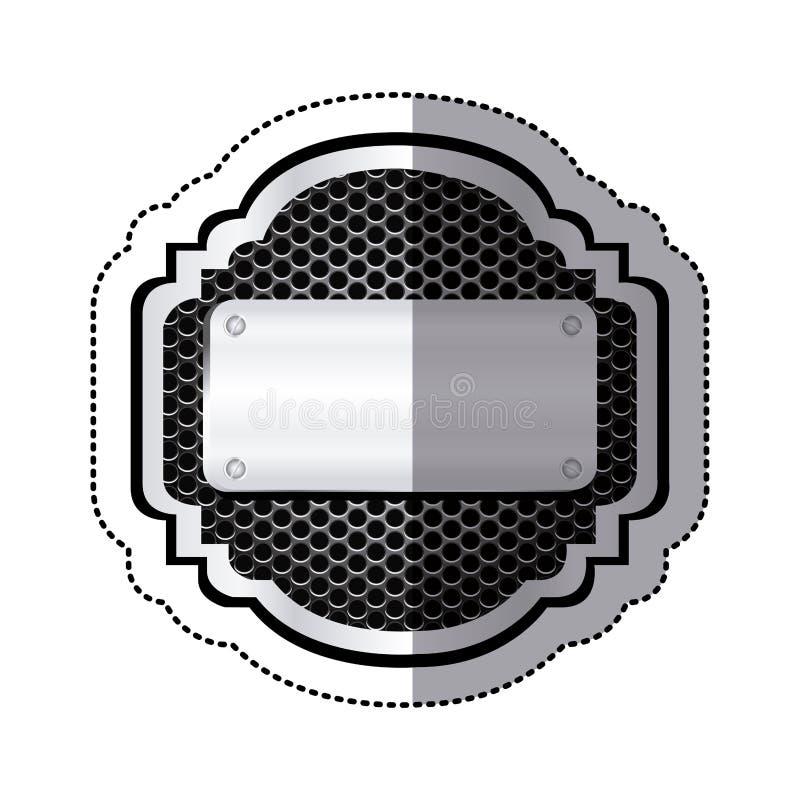 majcher heraldyczna kruszcowa rama z grillem dziurkującym i plakieta z śrubami ilustracji