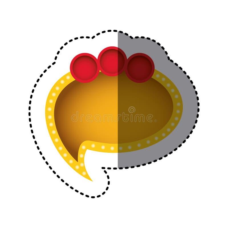 majcher kolor żółty chmury mowa z ogonu i czerwieni okręgami na odgórnej stronie ilustracji