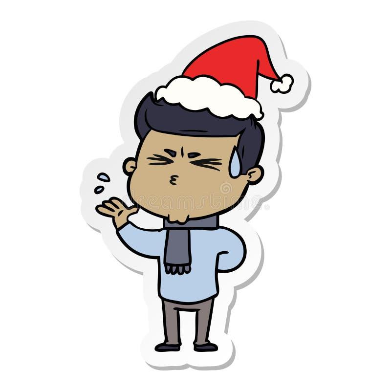 majcher kresk?wka m??czyzny pocenie jest ubranym Santa kapelusz ilustracji
