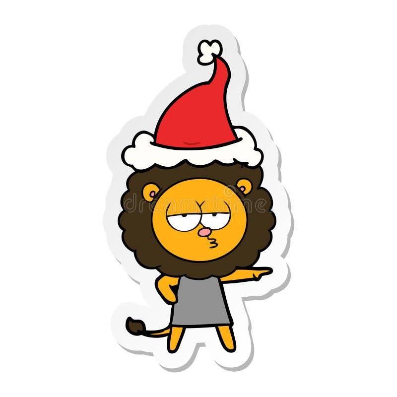 majcher kresk?wka zanudzaj?cy lew jest ubranym Santa kapelusz ilustracji