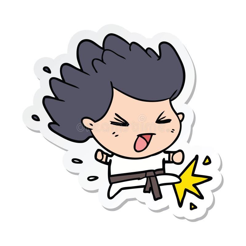 Majcher kreskówki kopania karate czempion ilustracji